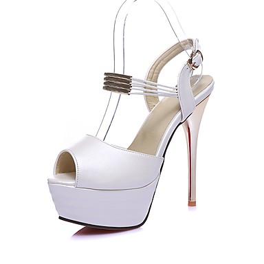 Mujer Zapatos Semicuero Verano D'Orsay y Dos Piezas Sandalias Tacón Cuadrado Puntera abierta Hebilla Blanco / Marrón / Fiesta y Noche wZZqVoPWD