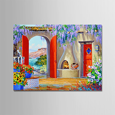 cheap Wall Art-Oil Painting Hand Painted - Abstract Landscape Modern Rolled Canvas