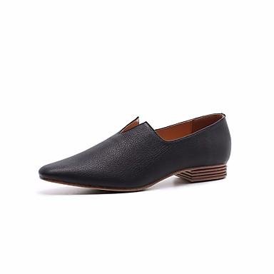 Mujer Zapatos Cuero Primavera / Otoño Confort Zapatos de taco bajo y Slip-On Tacón Plano Negro / Beige GhQ1vQnO