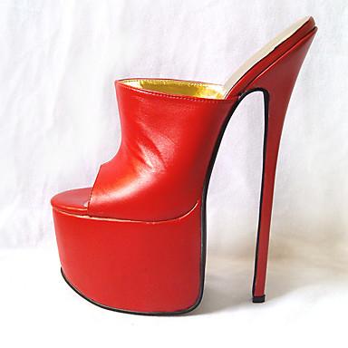 preiswerte Besondere Angebote-Damen High Heels Stöckelabsatz Offene Spitze PU Pumps Sommer Weiß / Schwarz / Rot / Party & Festivität