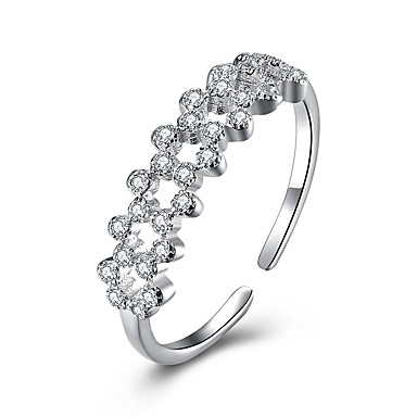 povoljno Fini nakit-Žene pljuska Ring Micro Pave Ring Kubični Zirconia mali dijamant Srebro S925 Sterling Silver Circle Shape dame Moda Party Dnevno Jewelry