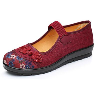 Mujer Zapatos Tela / Cuero de Napa Primavera / Otoño Confort Zapatos de taco bajo y Slip-On Tacón Plano Café / Rojo Zrdja2