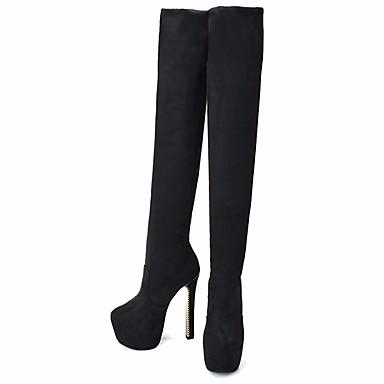 Mujer Zapatos Vellón Invierno Otoño Botas de Moda botas slouch Botas Tacón Cuadrado Dedo redondo Sobre la Rodilla para Vestido Fiesta y zFEuo0