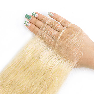 povoljno Ekstenzije od ljudske kose-3 paketi s zatvaranjem Peruanska kosa Ravan kroj Remy kosa Ombre Jedan Pack Solution Ekstenzije od ljudske kose Zlatna Plavuša Isprepliće ljudske kose s dječjom kosom Svilenkast Prirodna linija za