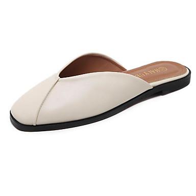 Mujer Zapatos Cuero de Napa Verano Confort Zapatillas y flip-flops Tacón Plano Puntera abierta Negro / Almendra Sortie 2018 Unisexe xHGadJADXs