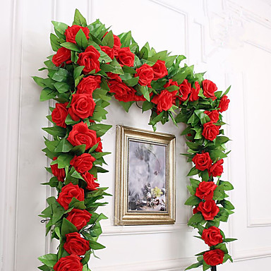 Kunstige blomster 1 Gren Fest / aften Bryllup Roser Veggblomst