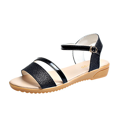 Mujer Zapatos PU Verano Confort Zapatillas y flip-flops Tacón Plano Punta abierta Hebilla Negro / Plata R601pvh