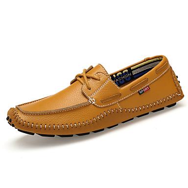 สำหรับผู้ชาย สไตล์อินเดียนแดง หนัง ฤดูใบไม้ผลิ / ตก คลาสสิก / ไม่เป็นทางการ รองเท้าสำหรับใส่ในเรือ ไม่ลื่นไถล ลายบล็อคสี สีดำ / ขาว / สีเหลือง