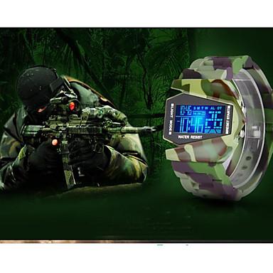 preiswerte Luxusuhren-Herrn Paar Uhr Armbanduhren für den Alltag Sportuhr Modeuhr Digital Silikon Kleegrün Wasserdicht Kalender Nachts leuchtend digital Luxus Freizeit Camouflage Grün