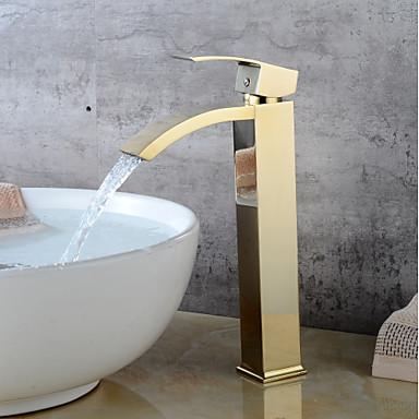 Μπάνιο βρύση νεροχύτη - Καταρράκτης Ti-PVD Αναμεικτικές με ενιαίες βαλβίδες Ενιαία Χειριστείτε μια τρύπαBath Taps