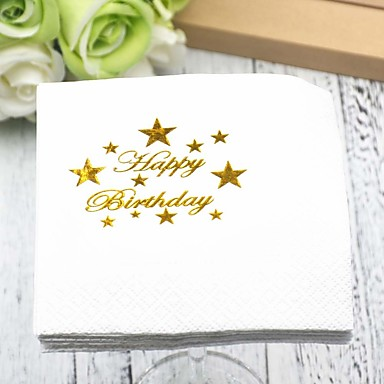 preiswerte Servietten für die Hochzeit-Reines Papier Hochzeit Servietten - 5pcs Dinner-Servietten Geburtstag Klassisch