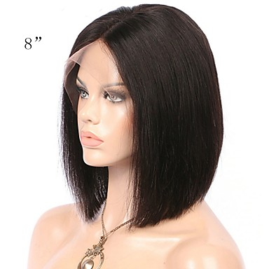 74 99 Human Hair Unprocessed Human Hair Lace Front Wig Bob Short Bob Middle Part Kardashian Style Brazilian Hair Straight Natural Wig 130 Density