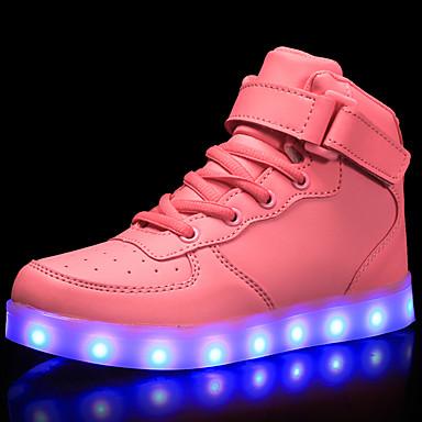 hesapli Çocuk Ayakkabıları-Genç Kız LED / Işıklı Ayakkabılar / USB Şarjı PU Spor Ayakkabısı LED / Parlak Beyaz / Siyah / Kırmzı Bahar / Kauçuk