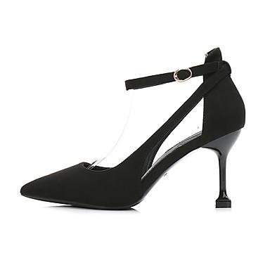 Mujer Zapatos Aterciopelado Primavera / Otoño Confort / Pump Básico Tacones Tacón Kitten Dedo Puntiagudo Negro / Fiesta y Noche GTv6iFo