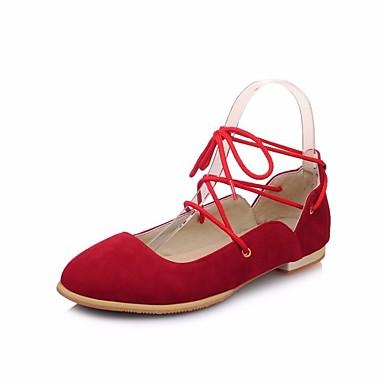 Mujer Zapatos Microfibra Primavera verano / Otoño invierno Confort Bailarinas Tacón Plano Negro / Rojo / Rosa AgYcYQSGD