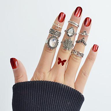 billige Motering-Dame Ring Set Midiringe Stable Ringer 9pcs Sølv Legering Sirkelformet damer Grunnleggende Mote Daglig Stevnemøte Smykker Dråpe Blomst