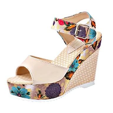 Zapatos Sandalias Tacón Gladiador Verano Cuña Mujer Pu Beige Azul Rj3c54ALq
