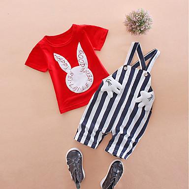 preiswerte Trendige Farben des Sommers-Baby Unisex Aktiv Alltag Festtage Druck Druck Kurzarm Standard Baumwolle Kleidungs Set Weiß / Niedlich
