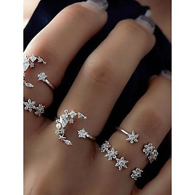 Dame Ring Set Midiringe Stable Ringer 5pcs Sølv Legering Sirkelformet damer Uvanlig Unikt design Daglig Stevnemøte Smykker Cluster MOON Stjerne