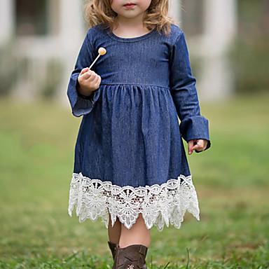 Νήπιο Κοριτσίστικα Απλός Μπόχο Καθημερινά Εξόδου Μονόχρωμο Patchwork Δαντέλα Σουρωτά Κλασσικό στυλ Μακρυμάνικο Φόρεμα Βαθυγάλαζο