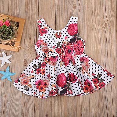 Νήπιο Κοριτσίστικα Ενεργό Μπόχο Πάρτι Σχολείο Πουά Φλοράλ Με Βολάν Αμάνικο Φόρεμα Φούξια