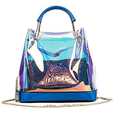 preiswerte Wasserdichte Taschen-Damen Knöpfe PVC / PU Bag Set Beutel Sets 2 Stück Geldbörse Set Gold / Silber / Blau