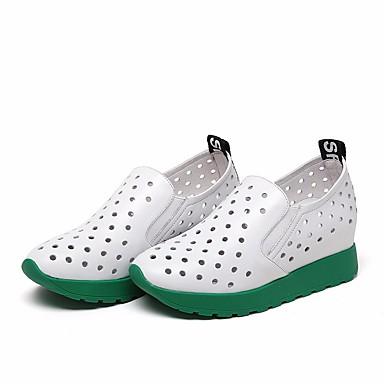 Mujer Zapatos Cuero de Napa Primavera verano Confort Zapatillas de deporte Tacón Plano Plateado / Rojo MYNeG