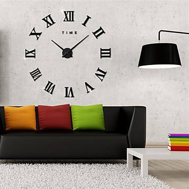 halpa Seinäkellot-Moderni nykyaikainen Acryic / polyesteri Ruostumaton teräs Pyöreä Sisällä / Ulkona