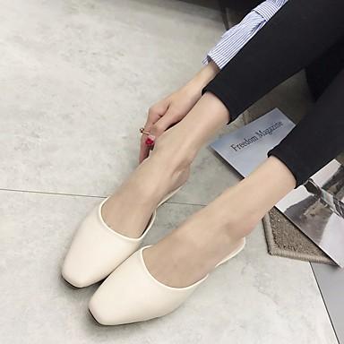 Mujer Zapatos Cuero Verano Confort Zuecos y pantuflas Tacón Plano Negro / Almendra Best-seller 86rvWUiUKv