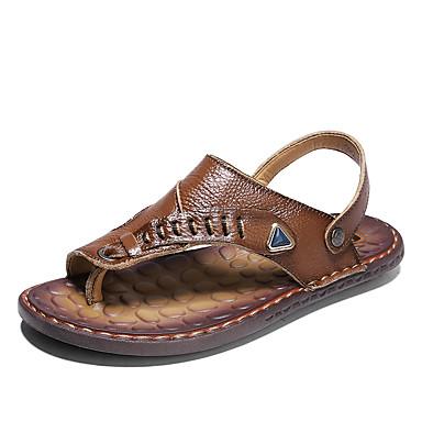 สำหรับผู้ชาย Novelty Shoes PU ฤดูร้อนฤดูใบไม้ผลิ รองเท้าแตะ ระบายอากาศ สีน้ำตาล / สีเหลือง