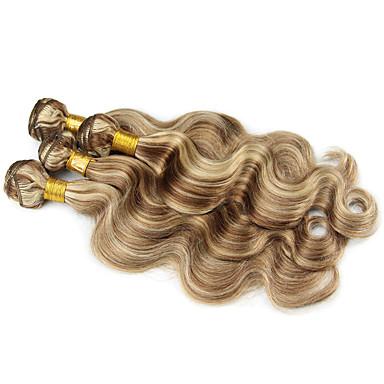 povoljno Ekstenzije od ljudske kose-3 paketa Brazilska kosa Wavy Ljudska kosa Ombre Jedan Pack Solution Ekstenzije od ljudske kose Višebojne Isprepliće ljudske kose Nježno Ombre neprerađenih Proširenja ljudske kose / 8A