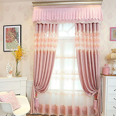 Curtains Drapes Living Room Geometric Cotton / Polyester Embroidery ...
