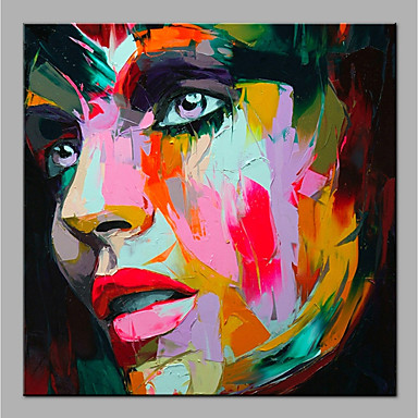 cheap Wall Art-Oil Painting Hand Painted - Abstract People Modern Rolled Canvas