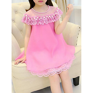cheap Baby & Kids-Kids Girls' Casual Street chic Daily Going out Patchwork Short Sleeve Dress Fuchsia