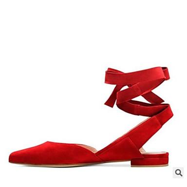 Mujer Zapatos Cuero Primavera / Otoño Confort Sandalias Tacón Bajo Punta cerrada Corbata de Lazo Gris / Rojo / Azul / Con Lazo b1L3HlSE