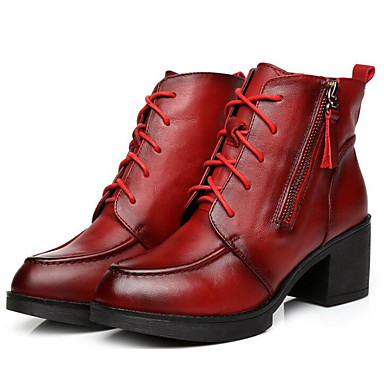 Mujer Zapatos Cuero de Napa / Cuero Otoño / Invierno Confort / Botas de Combate Botas Tacón Cuadrado Botines / Hasta el Tobillo Marrón u5M8DJeh