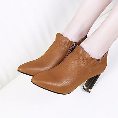 Mujer Zapatos Cachemira / PU Primavera / Otoño Confort Botas Tacón Cuadrado Negro / Beige / Rojo BT9t74C