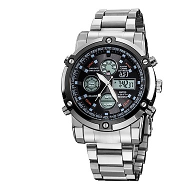 levne Pánské-ASJ Pánské Sportovní hodinky Digitální hodinky Křemenný japonština Digitální Nerez Stříbro 50 m Voděodolné Alarm Kalendář Analog - Digitál Luxus Klasické Módní Armáda - Bílá Černá Modrá Dva roky