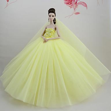 levne Doplňky pro panenky-Šaty pro panenky Šaty Pro Barbie Žlutá Tyl Krajka Směs bavlny Šaty Pro Dívka je Doll Toy