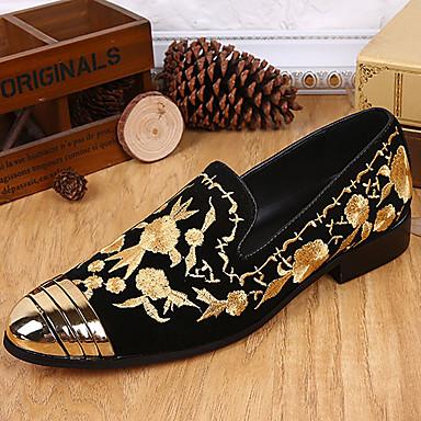 Hombre Zapatos Seda / Cuero de Napa Primavera / Otoño Confort Zapatos de taco bajo y Slip-On Dorado / Impresión Oxfords skKslK