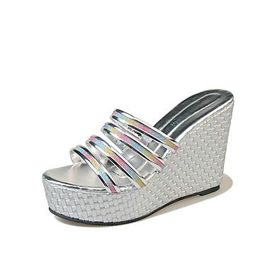 Mujer Zapatos PU Verano Confort Sandalias Media plataforma Dedo redondo Negro / Plata I9Hhx
