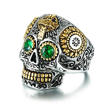 levne Pánské prsteny-Pánské Vyzvánění Stříbrná Titanová ocel Party / Večírek Punk Módní Klub Cosplay kostýmy Šperky Ryté Mexická Cukr Lebka Cool