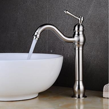 Μπάνιο βρύση νεροχύτη - Με Ποδαράκια Βουρτσισμένο Νικέλιο Αναμεικτικές με ενιαίες βαλβίδες Ενιαία Χειριστείτε μια τρύπαBath Taps