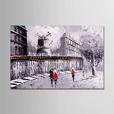 Hang malte oljemaleri Håndmalte - Abstrakt Landskap Moderne Uten Indre Ramme / Valset lerret