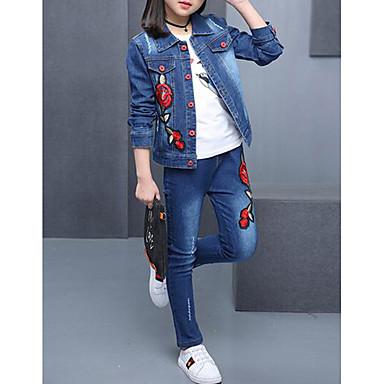 Kids Girls' Solid Colored Floral Embroidered Long Sleeve Denim Clothing Set Blue