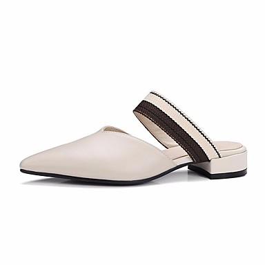 Mujer Zapatos Ante Verano Confort Zuecos y pantuflas Tacón Cuadrado Negro / Rosa / Marrón Claro kBN8t0z