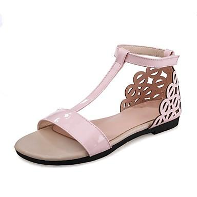 Mujer Zapatos Cuero de Napa Verano Confort Sandalias Tacón Cuadrado Puntera abierta Dorado / Plateado / Champaña sStSCLQv
