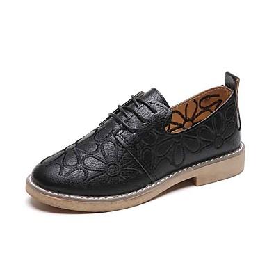 Mujer Zapatos Cuero de Napa Verano Confort Oxfords Tacón Plano Dedo redondo Blanco / Negro 3qtjaHsaBN