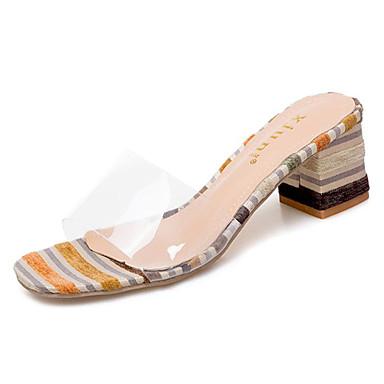 Mujer Zapatos PU Primavera verano Confort Zapatillas y flip-flops Tacón Cuña Amarillo / Rojo / Azul 8UjKp