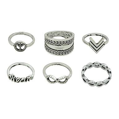 levne Dámské šperky-Dámské Sada kroužků Midi prsteny Stohovatelné kroužky 6ks Stříbrná Slitina Circle Shape dámy Základní Módní Denní Rande Šperky